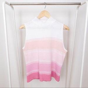 Vintage Pink Pastel Ombré Mockneck Sweater